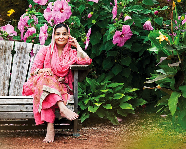 Commercial Portrait, Woman On Bench Wearing Pink Sari, Toronto Canada