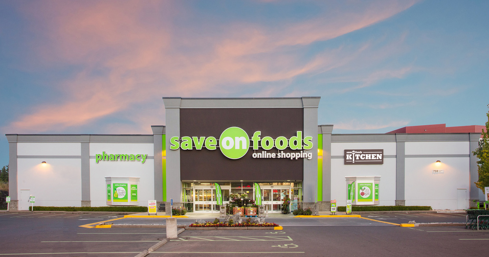 Corporate client SaveOnFoods Victoria location for advertising photography of this newly renovated store included drone photography as well