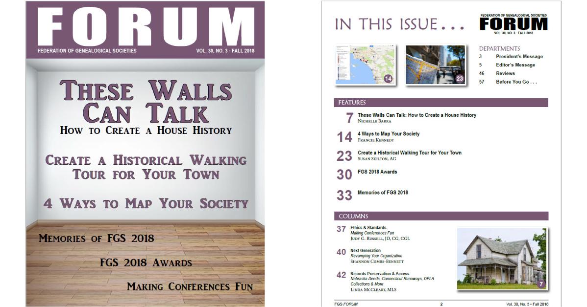 FGS FORUM V30N3, Fall 2018 Issue