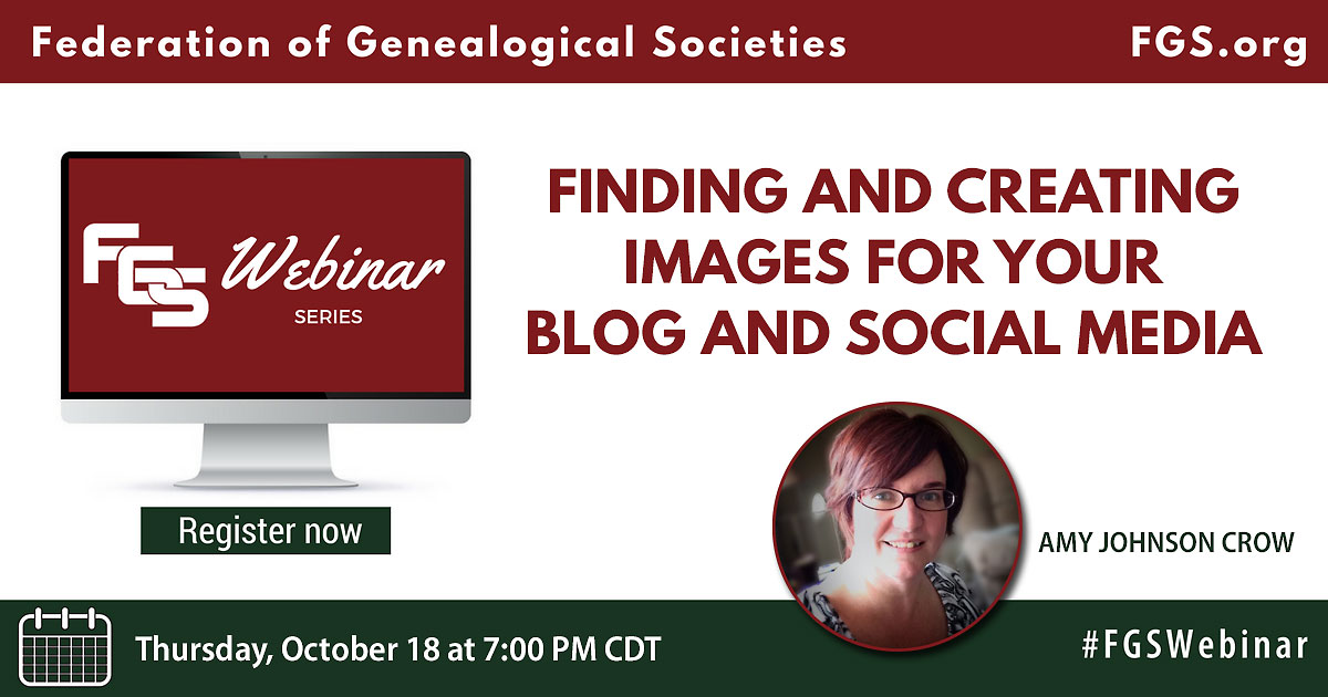 webinar, free, images, genealogy, societies, Amy Johnson Crow