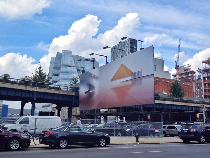 Louise Lawler's Triangle (adjusted to fit) on view at West 18th Street. Photo by Friends of the High Line