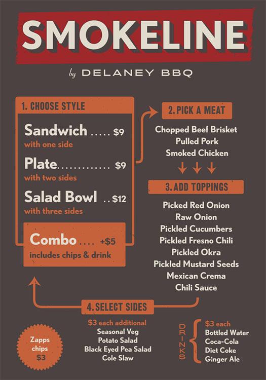 Smokeline menu, courtesy of Delaney BBQ