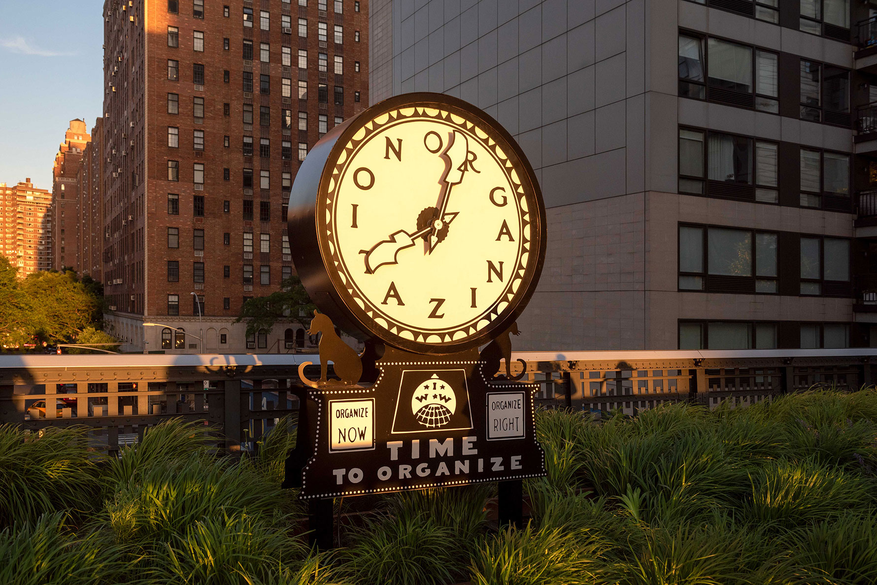 A large-scale clock on the park
