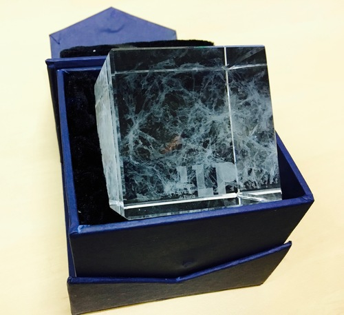 Cosmic Web in Glass - Laser Etched 3D Cube with ILP logo