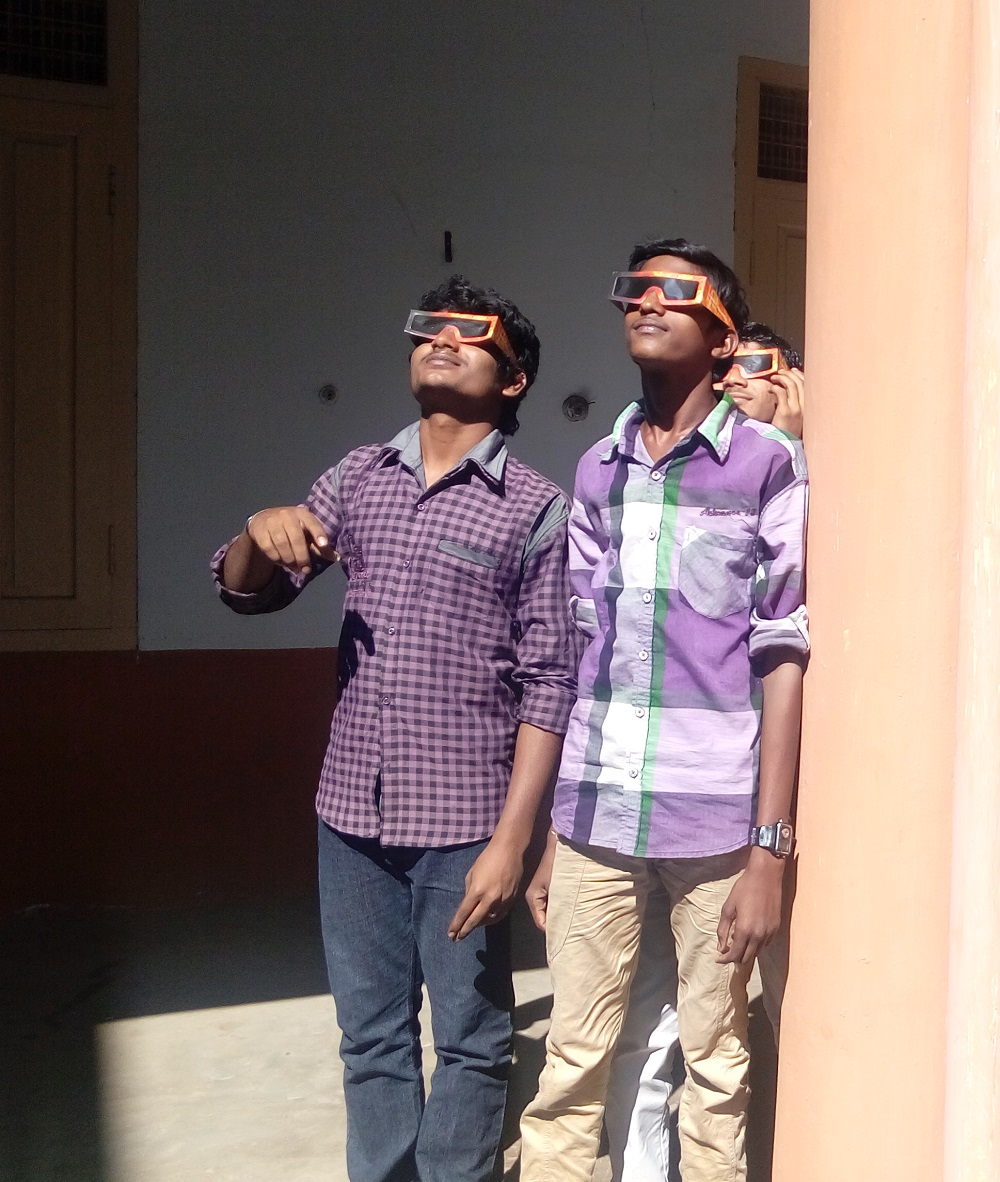 Students Observing the Sun with solar glasses