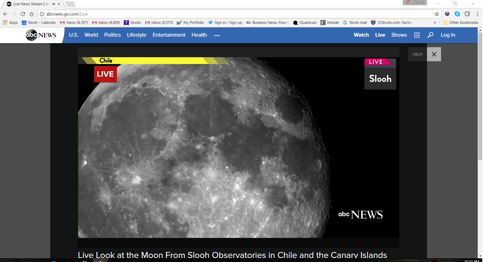 Slooh live feed of the moon for ABC News