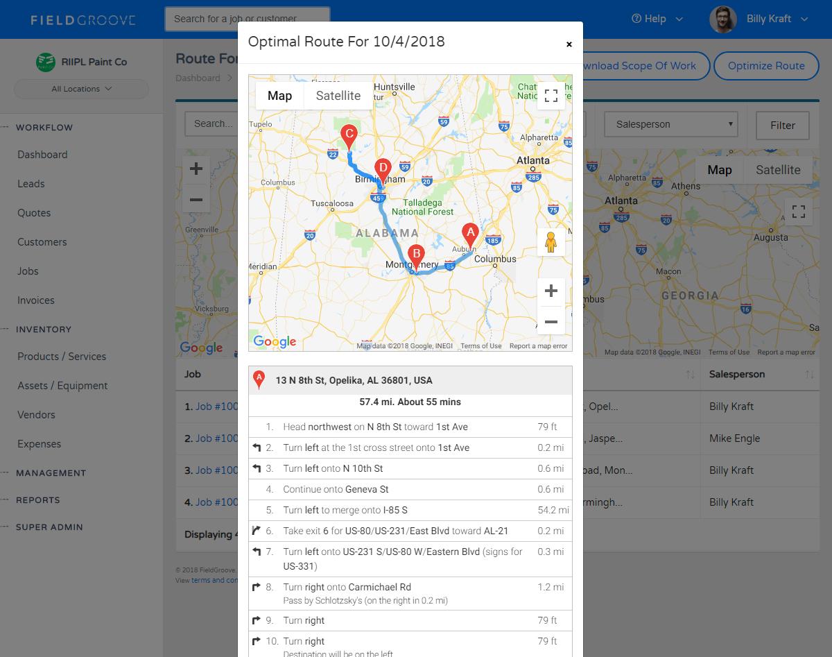 FieldGroove Route Optimization