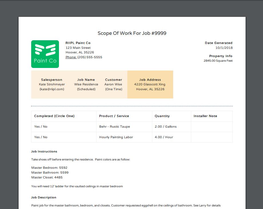 Scope of Work (Work Orders)