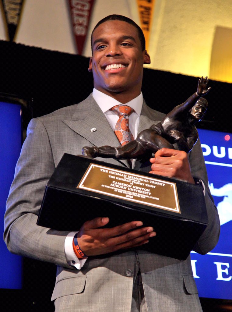 Cam Newton accepting the Heisman Trophy