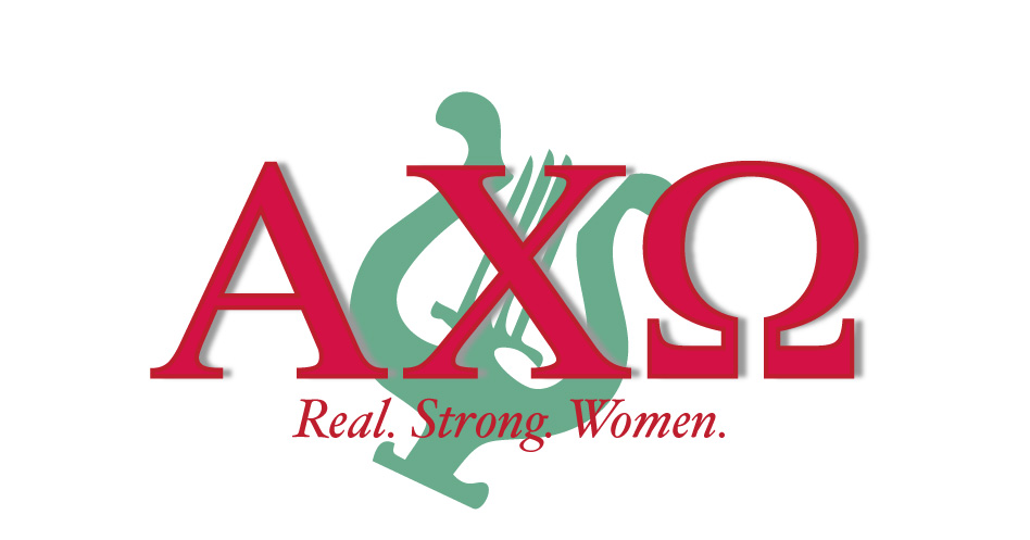 greek letters for alpha chi omega with a harp in background