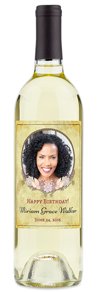 birthday wine bottle with potrait
