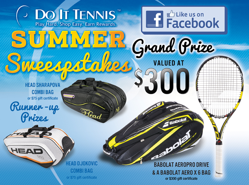Win a Pro Tennis Racquet, Tennis Bags and more with Do it Tennis Sweepstakes