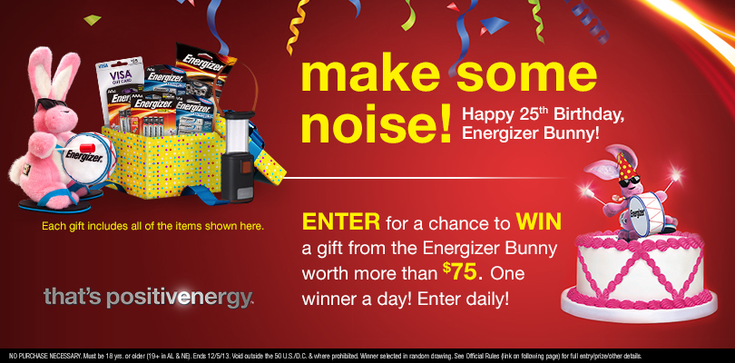 Energizer Bunny Birthday Sweepstakes