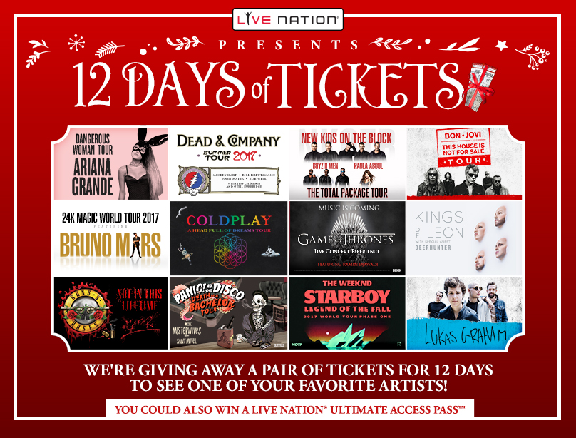 Live Nation Presents: 12 Days of Tickets Giveaway