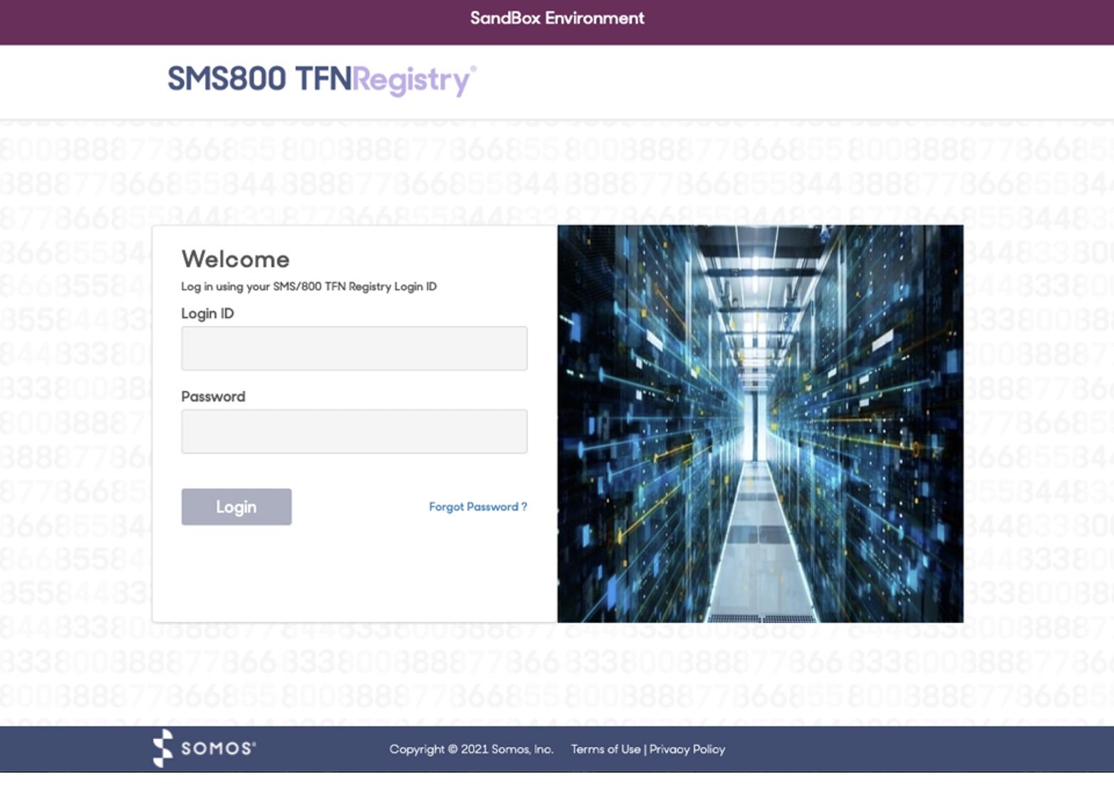 TFN Registry Sandbox Screen Shot