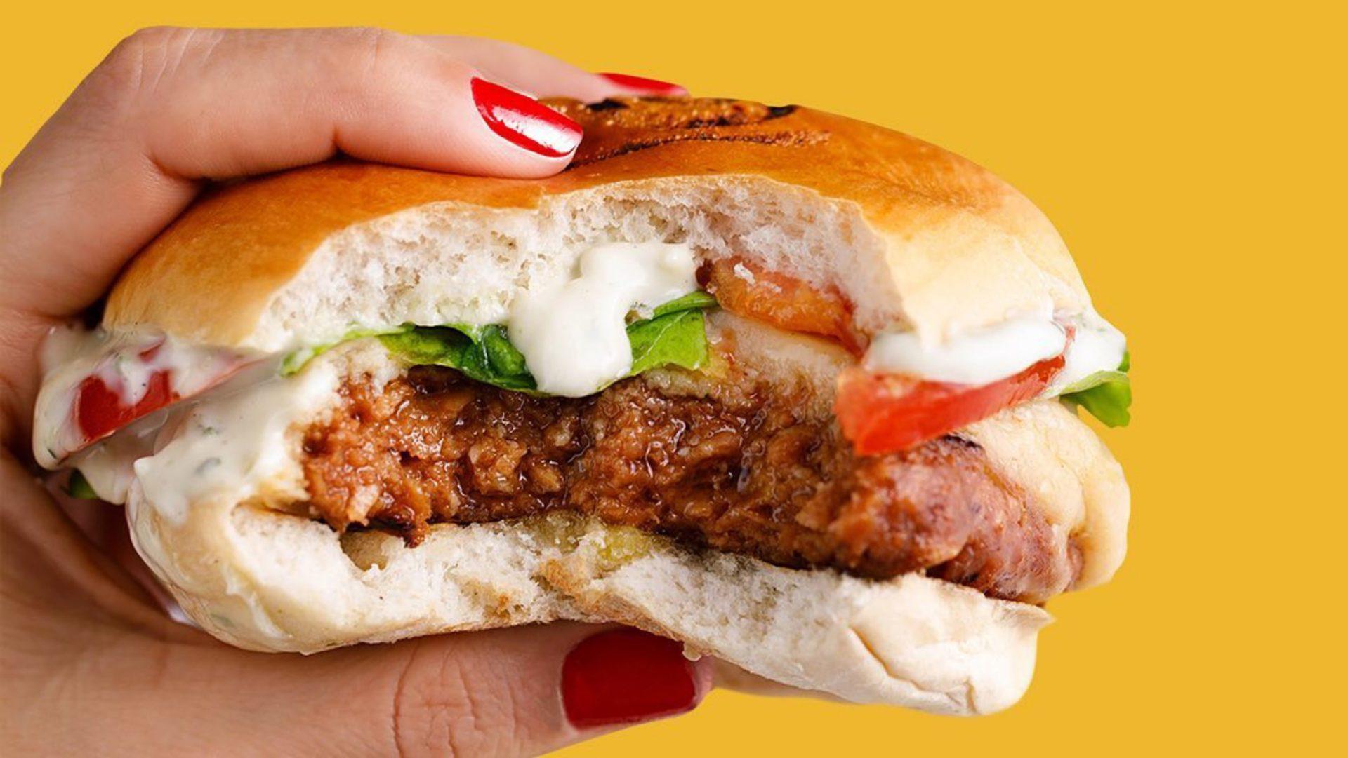 Mão segurando sanduíche de hamburguer vegetal: Burguer do Futuro, da LC Futuro, produto da parceria entre a Fazenda Futuro e a Lanchonete da Cidade / Foto: LC Futuro (divulgação)