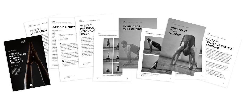 Preview com amostra de tipo de conteúdo do Guia Prático YAM para cuidar do corpo e da mente