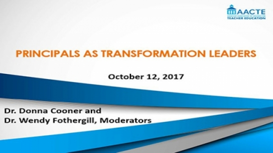 Webinar: Principals as Transformation Leaders: Changing Roles and Responsibilities