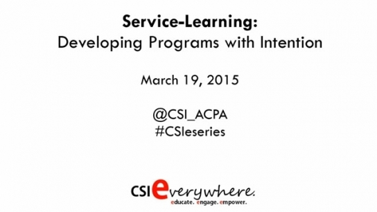 Service Learning: Developing Programs with Intention