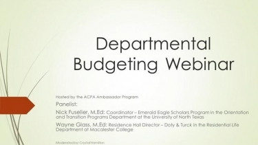 ACPA Ambassador Program: Departmental Budgeting