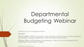ACPA Ambassador Program: Departmental Budgeting