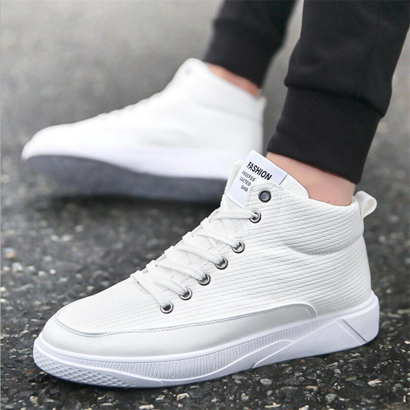 87c9362cc 2018 New Spring/Autumn Men Casual Shoes Breathable Black High-top Lace-up  Canvas Shoes Espadrilles Fashion White Men's Flats