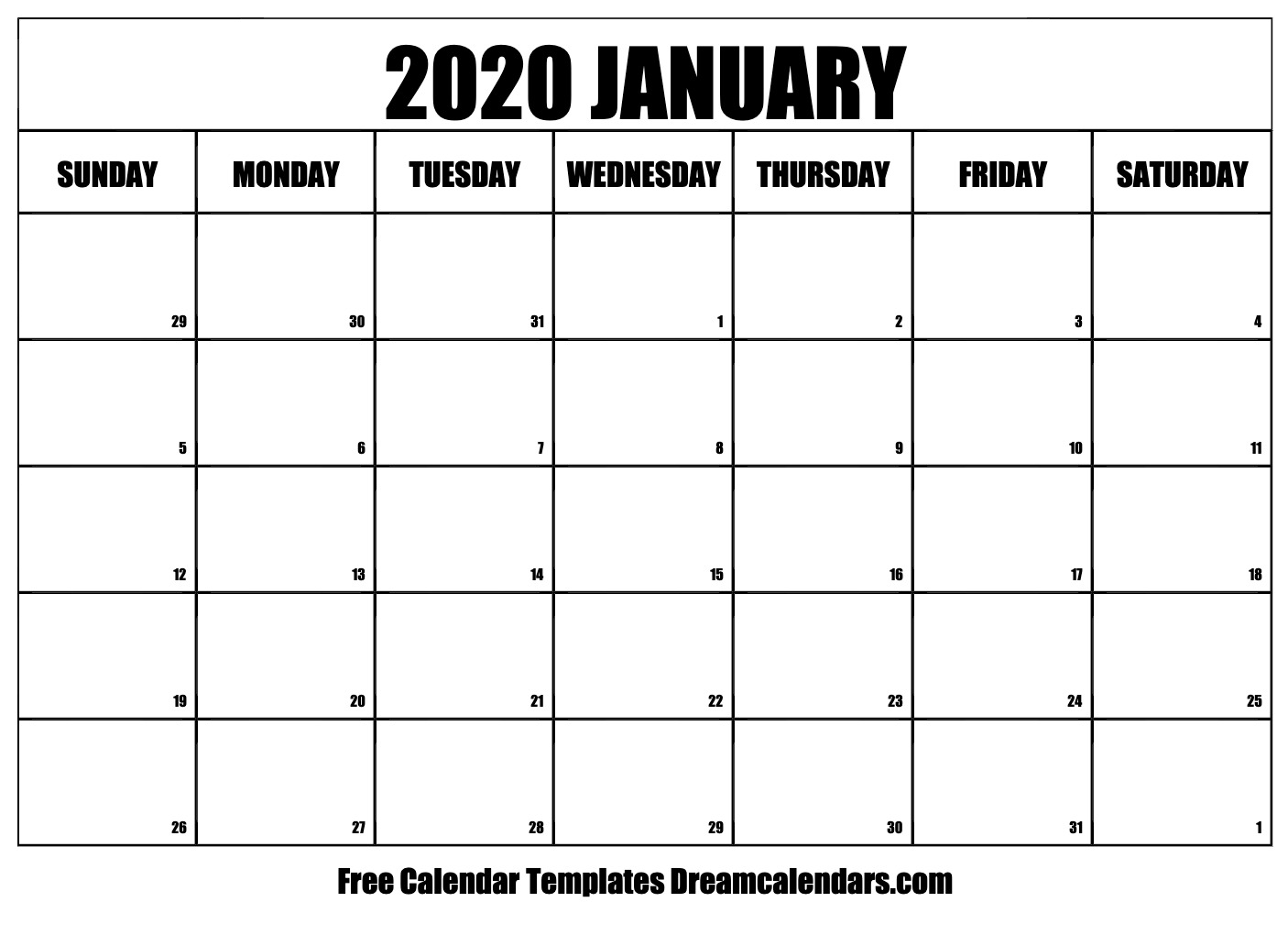 Printable January 2020 Calendar | Posts by Helena Orstem