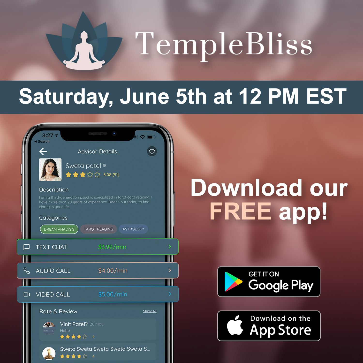 Temple Bliss Launches App for Finding the World's Best Spiritual Advisors and Psychics