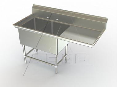 Image of F2R Series, Double Bowl Sink - Right Drainboard