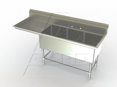 Image of F3L Series, 3 Compartment Sink - Left Drainboard