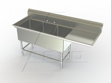 Image of F3R Series, 3 Compartment Sink - Right Drainboard