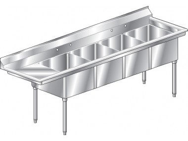 Image of F4L Series, 4 Compartment Sink - Left Drainboard
