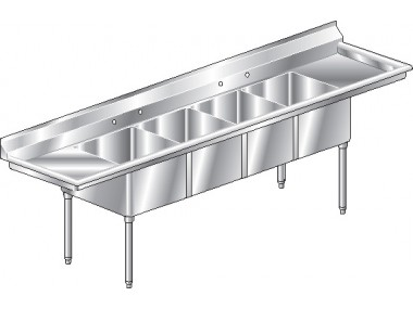 Image of F4LR Series, 4 Compartment Sink - Two Drainboards