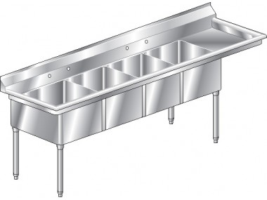 Image of F4R Series, 4 Compartment Sink - Right Drainboard