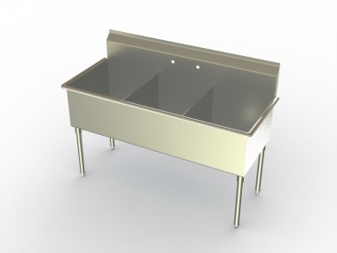 Image of S3 Series, Stainless Steel Three Compartment Sink