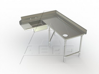 Image of SDCR Series, Stainless Steel NSF Listed Soiled Dishtable Corner Design