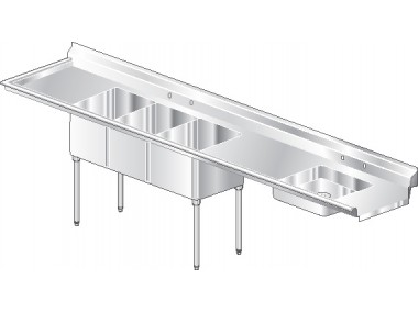 Image of SDF3 Series, Stainless Steel NSF Listed Soiled Dishtable with 3 Bowls