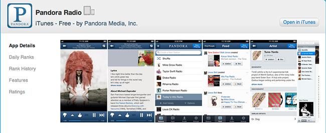Pandora Radio app detail page