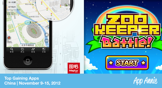 Top Gaining Apps in China: Zookeeper Battle, Mapbar Navi in the iPhone app store