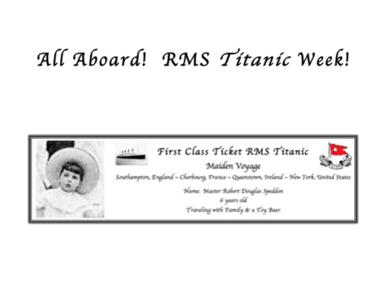 Third Grade Lesson Titanic Week Bon Voyage Day One