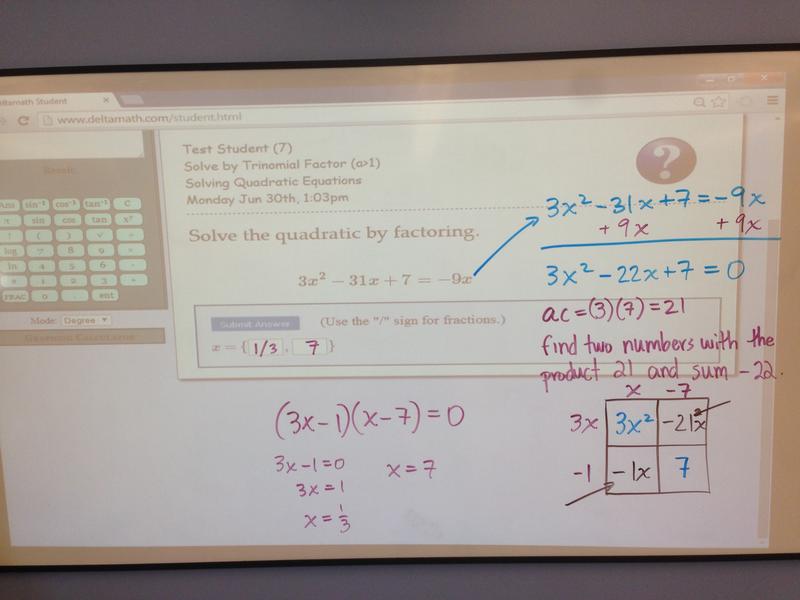 Ninth grade Lesson Solving Quadratic Equations (Delta Math)