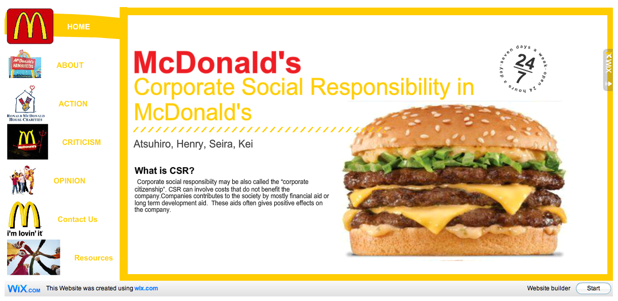 mcdonalds corporate social responsibility Mcdonald's stakeholders' interests and corporate social responsibility programs are discussed in this case study and analysis on the firm's csr performance.