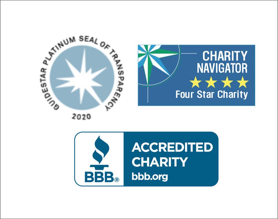 Conquer Cancer's charity logos; Better Business Bureau, GuideStar 2020, Charity Navigator