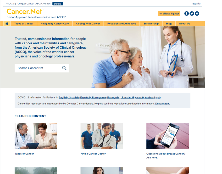 cancer.net homepage