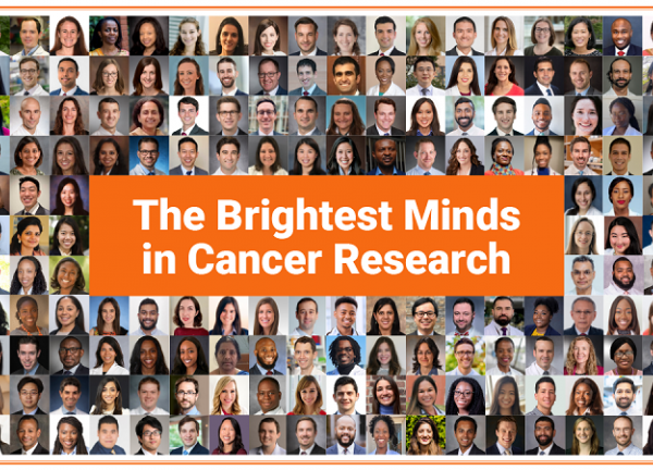 """A collage of all Class of 2021 Conquer Cancer Grant & Award recipients. In the center, in white bolded text on an orange backdrop, it reads """"The Brightest Minds in Cancer Research"""""""