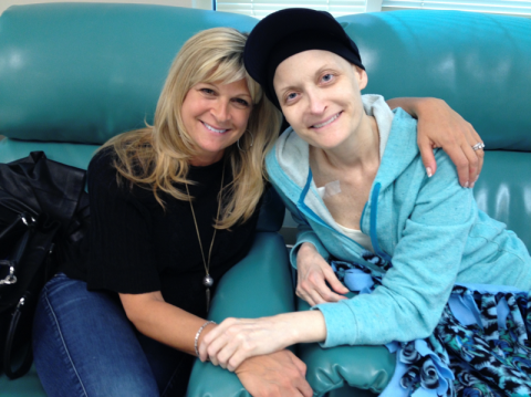 Brenda Brody post-treatment, wearing a black hat and bright teal jacket. She's sitting next to a friend with arms linked. Both are smiling facing forward.