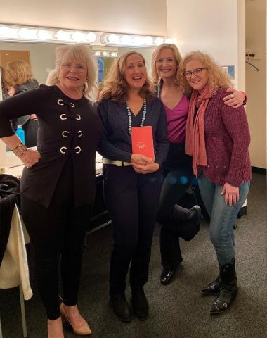 Brenda Brody with a group of three friends backstage at a show.