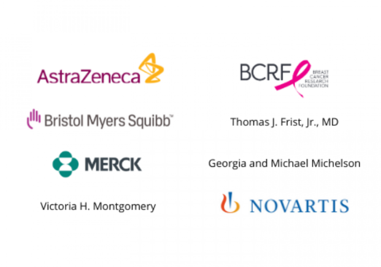 Listing of Top Donors from April 1, 2019, to March 31, 2020. AstraZeneca; Breast Cancer Research Foundation; Bristol Myers-Squibb; Thomas J. Frist, Jr., MD; Merck; Georgia and Michael Michelson; Victoria H. Montgomery; Novartis