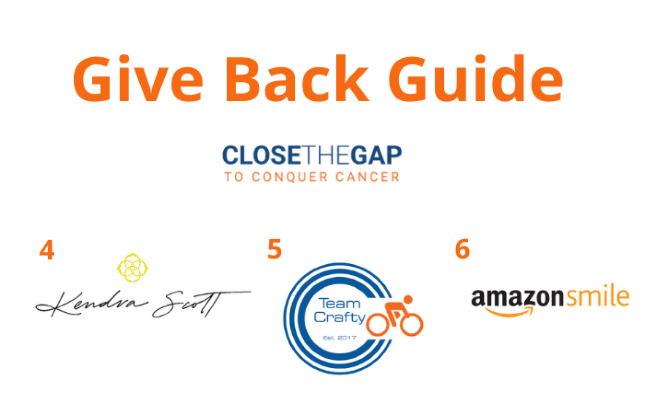 'Give Back Guide' in large orange font located top center. Beneath is the 'Close the Gap to Conquer Cancer' campaign logo. From left to right on bottom: 4: Kendra Scott logo. 5: Team Crafty logo. 6: AmazonSmile logo.