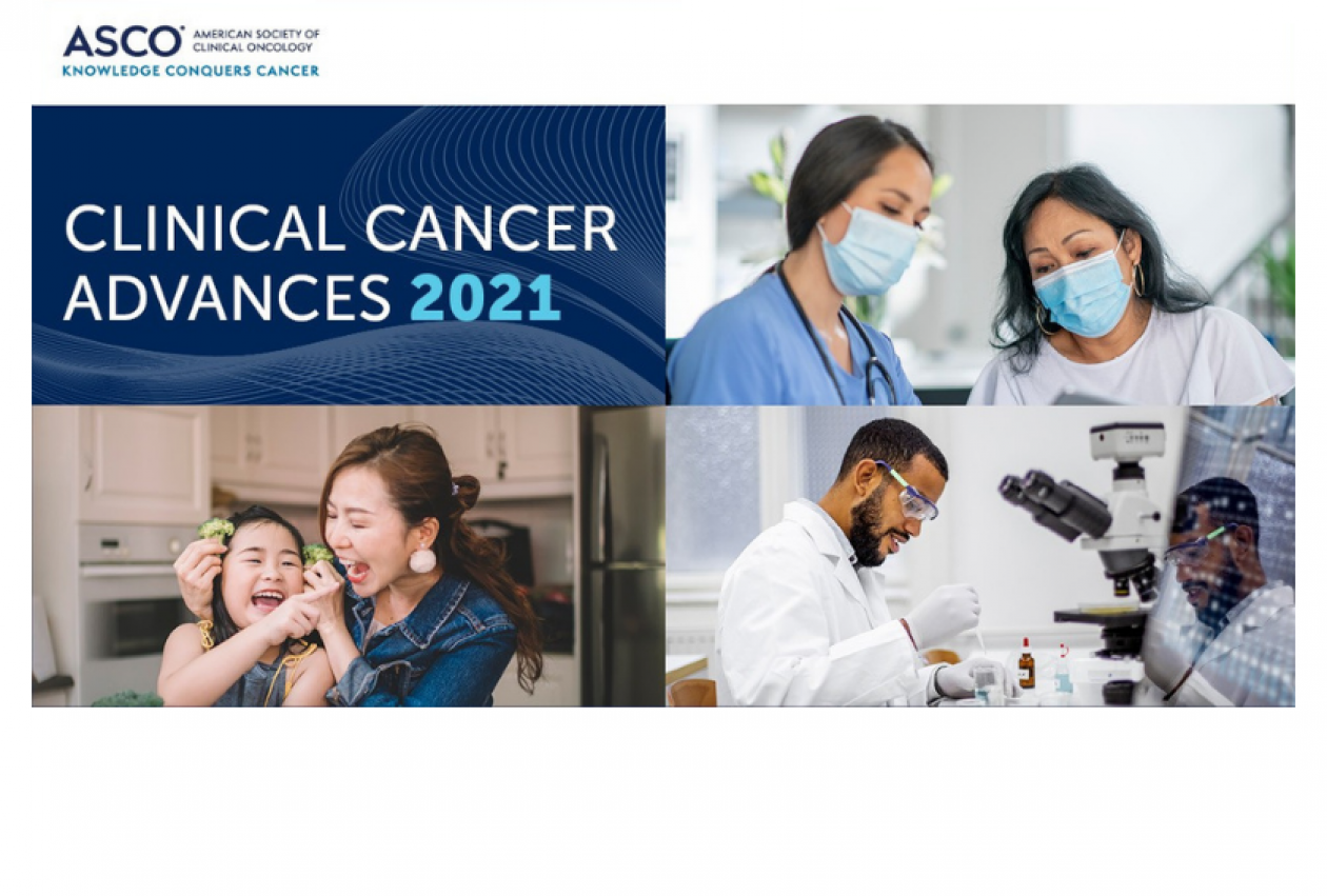 Top left: ASCO Clinical Cancer Advances 2021 graphic. Top right: two female doctors in masks, speaking. Bottom right: two male doctors in white coats, conducting a laboratory experiment with a microscope. Bottom left: a mother and young daughter laughing.